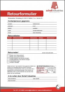 Retourformulier Schell Industries NL